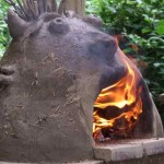Fired up pizza oven we built with the children at Easton St Peters Primary, Norfolk