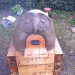 Owl pizza oven we built with primary school children in Norfolk