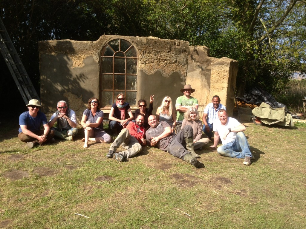 cob house building course/ workshop at Kate Edward's home in Norfolk, May 2013.