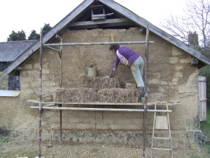 barn gable end being repaired
