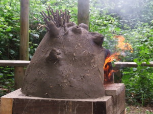 wood fired pizza oven in schools built by Kate Edwards and children